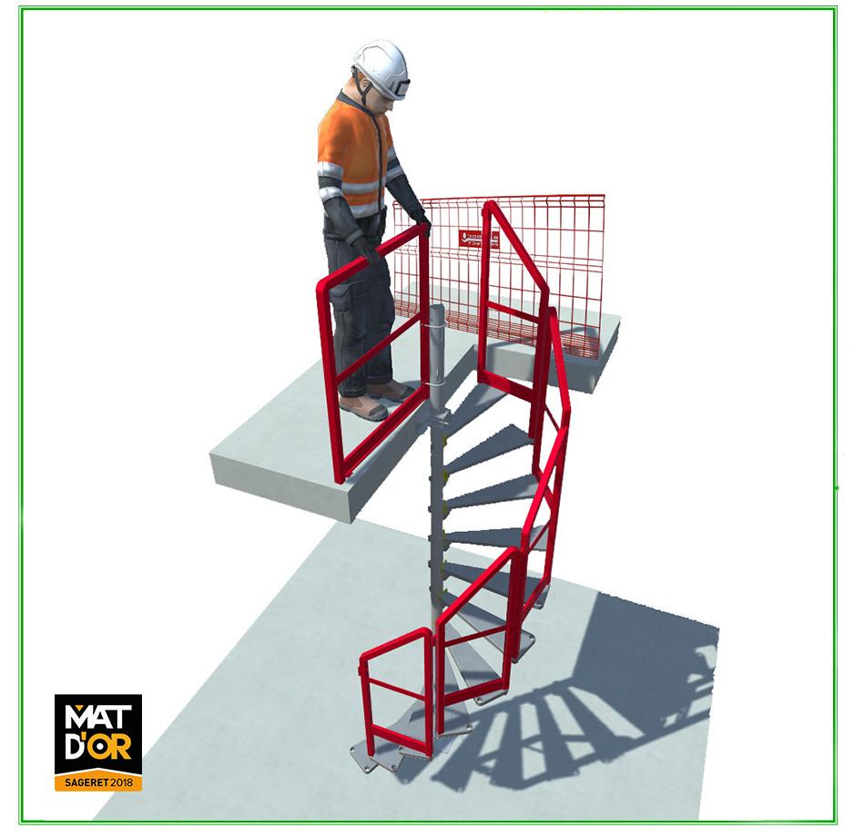 escalier temporaire - escalier en colimaçon - escalier de chantier Bat 'Access - accès trémies