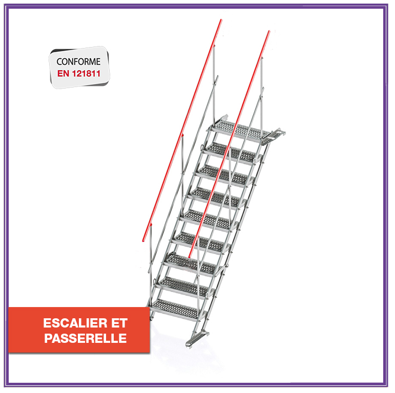 Escalier de chantier modulable en passerelle - Bat'Escal